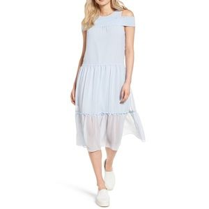 Chelsea28 Light Blue Cold Shoulder Midi Dress